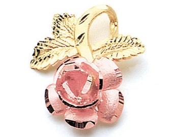 14K Two Tone Rose Pendant, Rose Pendant, Rose Jewelry, Flower Jewelry, Floral Jewelry, Floral Pendant, Rose, Floral, Flower