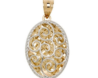 14k gold two tone mirrored swirl pendant.
