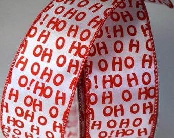 "2 1/2"" Christmas  Ho Ho Ho Wire Edged Ribbon"