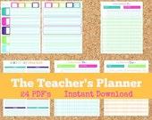 INSTANT DOWNLOAD The Teacher's Planner- Teacher Organization- 24 PDF Printable Sheets- Teacher Printables- Lesson Planner