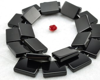 21 pcs of Black Onyx smooth rectangle beads in 13x18mm