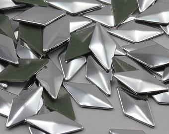 10x5mm Silver Metallic Diamond Hotfix Nailheads Iron On Studs Heat Set Gems - 100 Pieces