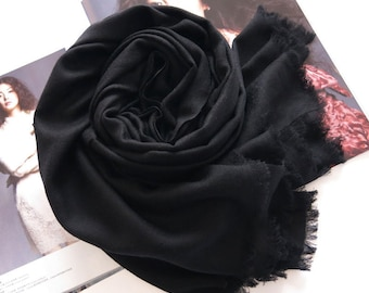 Large Black Wool Cashmere Blend Scarf - 200 Thread Count Premium Wool Scarf - Black Wool Shawl - BS103P