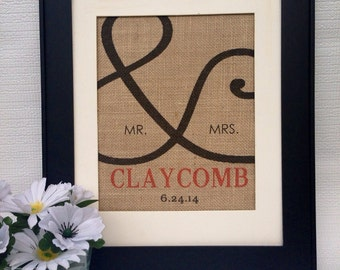 ampersand and sign personalized Mr & Mrs. Established since year  sign on real burlap