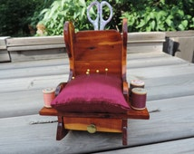 Vintage Pin Cushion and Thread Holder Chair Rocking Chair