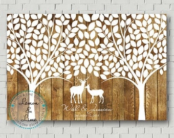 Wedding Guest Book Wedding Signs Personalized Guest Book Deer Guestbook Wedding Gift Rustic Wedding Tree Guestbook Tree Wedding Canvas Sign