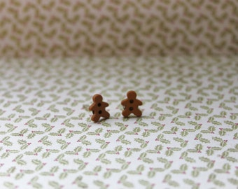 Christmas GingerBread Man Button Stud earrings