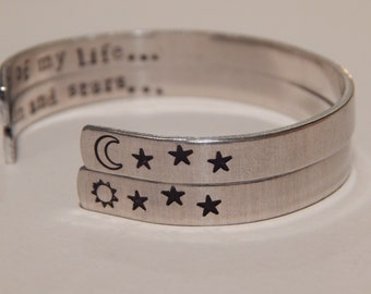 Moon of My Life, My Sun And Stars, Game of Thrones Inspired Aluminum Cuff Bracelets - set of 2 Hand Stamped