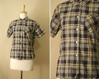 Vintage 1950s Grey, Black and Yellow Button Plaid Shirt