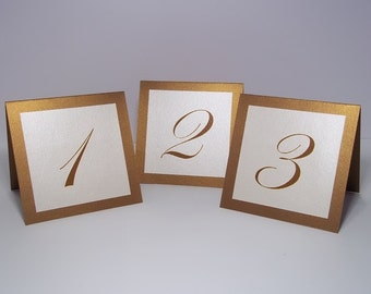 Antique Gold and Ivory Shimmer Tent Wedding Table Number Cards