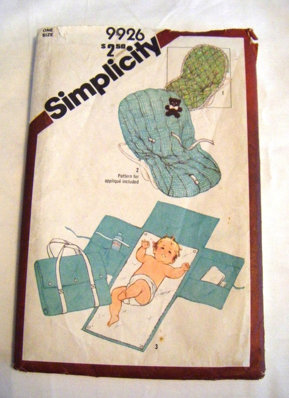 Vintage 1980s Simplicity 9926 Babies Travel Mat And Tote