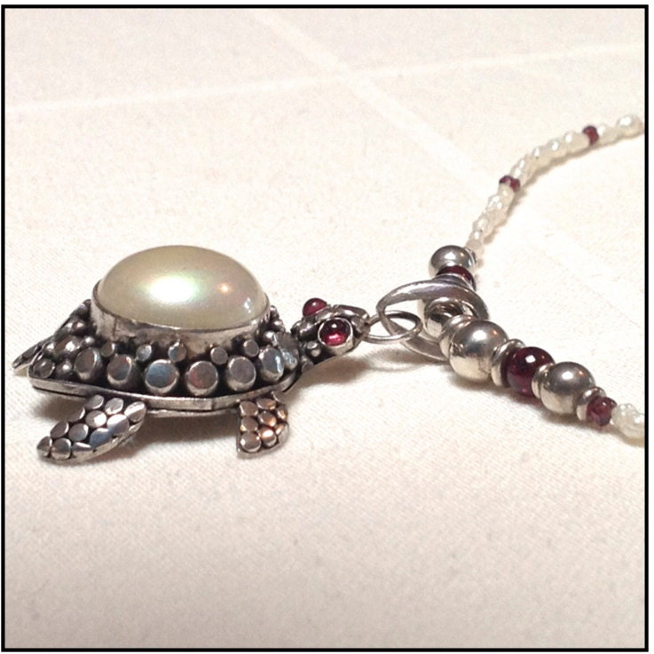 Mabe Pearl Necklace: Mabe Pearl Set In Sterling Silver Turtle Pendant W/pearls And