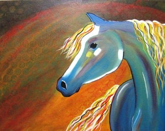 Original Abstract Horse painting, Modern horse wall Art, Abstract Horse fine art, Large contemporary art