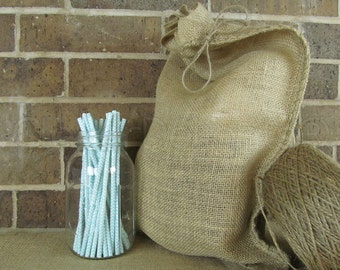 """1 - 12x20 Large Burlap Bag - Natural Rustic Burlap Bag with Natural Jute Drawstring for Showers Weddings Parties - 12"""" x 20"""""""