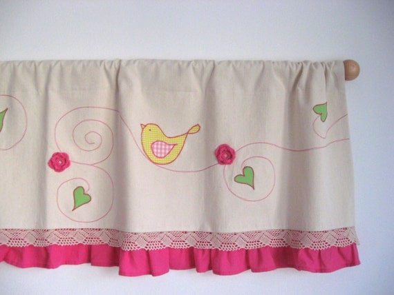 pink ruffle valance lime green yellow flower bird curtain la