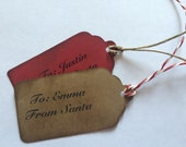 Personalized Gift Tags from Santa /Favor Tags/Christmas/Red or Brown/Embellishments/ 3 inch/ 8 piece