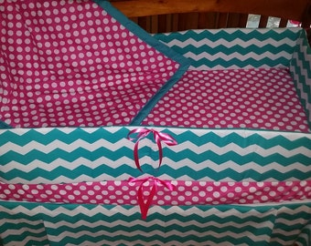 24 Hour Sale***Teal Chevron and Hot Pink with dot 4 piece crib bedding set