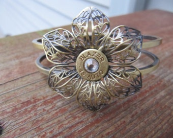 Bullet Jewelry - Bullet Bracelet - Antique Bronze Flower 45 Bullet with Swarovski Crystal Accents - Bullet Jewelry - Classic - Bullet Cuff