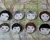 Tiny Illustrated Ceramic Face Dishes.Second batch. 8 styles to choose from, made to order