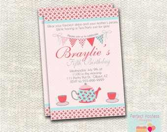 Pink Floral Tea Party Invitation
