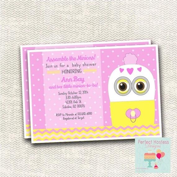 despicable minion girl baby shower invitation