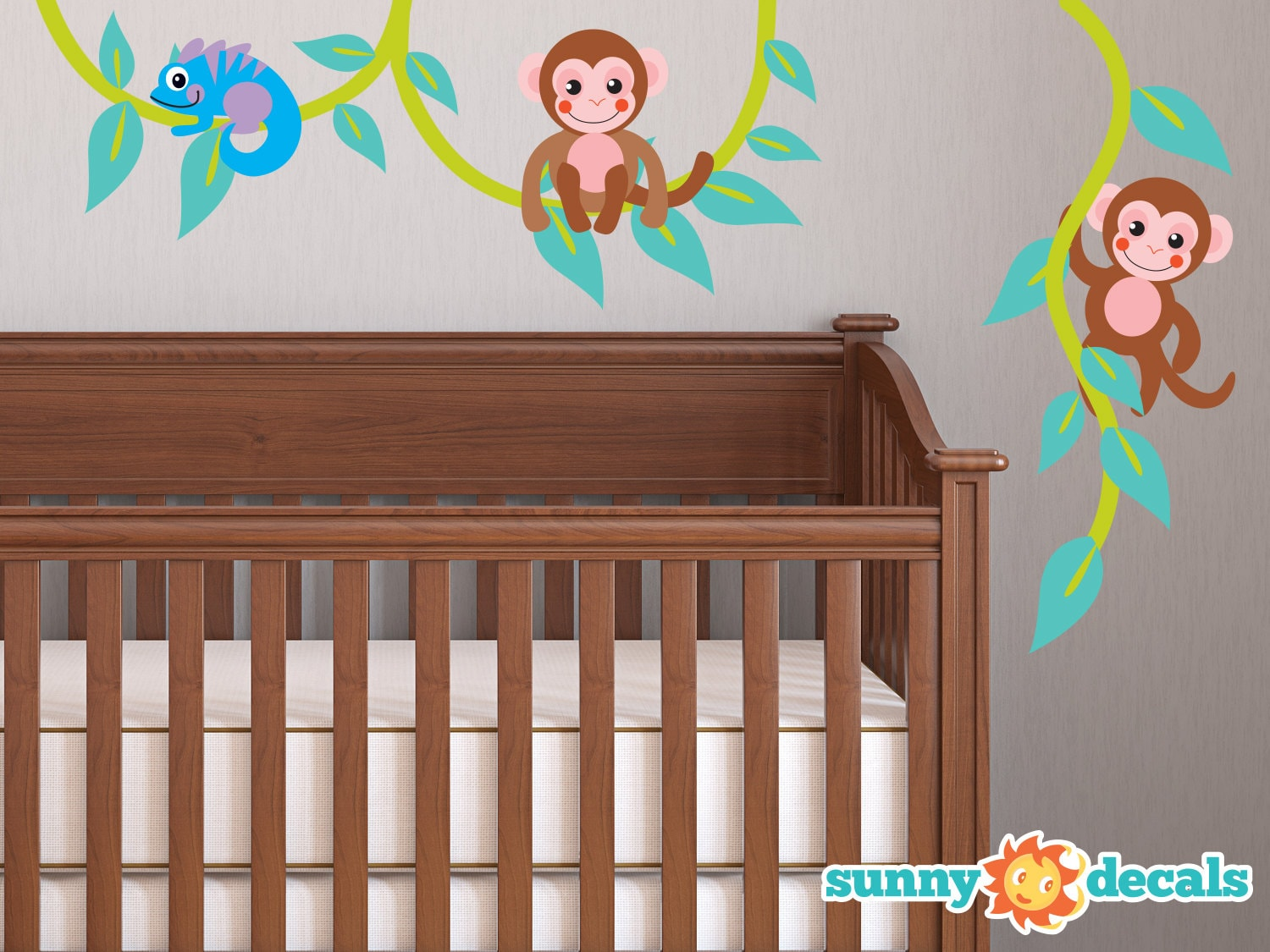 Monkeys on a vine fabric wall decal monkey vine decal monkey for Nursery monkey fabric