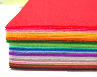 "Stiff Wool Felt Sheets - You will get 40 Sheets of 6"" x 6"" in Various Colors (Worldwide Free Shipping)"