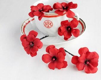 Red Hydrangea Clips, Bridal Hair Pins, Wedding Bobby Pins, Woodland Hair Clips, Red Bridal Hair Clips, Bridesmaids Hair Pins, Red Wedding