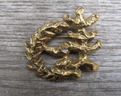 Vintage Judaica Israel Bond Brooch - Signed Lipchitz Olive Tree Brooch - Modernist Cubist Sculptural Brooch Pin