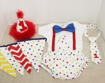 Circus cake smash outfit, 1st birthday outfit, Circus outfit, 1st 2nd 3rd  birthday, Boys cake smash outfit, Circus, Clown, Circus theme