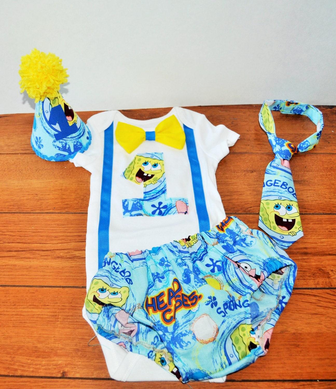 Baby Boy/ Toddler Cake Smash Outfit Spongebob Cake By RYLOwear