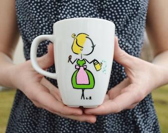 Hand Painted Mug, Dainty Lady, Gardener