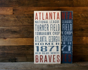 Atlanta Braves Distressed Wood Sign--Great Father's Day Gift!