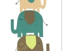 Boy Nursery, Elephant Wall Art, Brown Green Teal Orange, Jungle Nursery Print, Safari Boy's Room Decor, Baby Shower Gift, Elephant Canvas