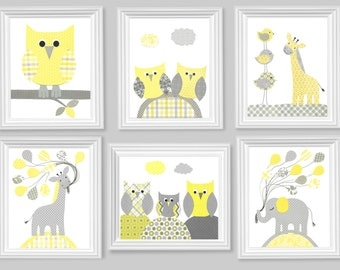 Gray and Yellow Nursery Art Prints Set of 6 Gender Neutral Baby Decor Owls Giraffes Elephants 8 x 10 or 11 x 14 prints on paper or canvas