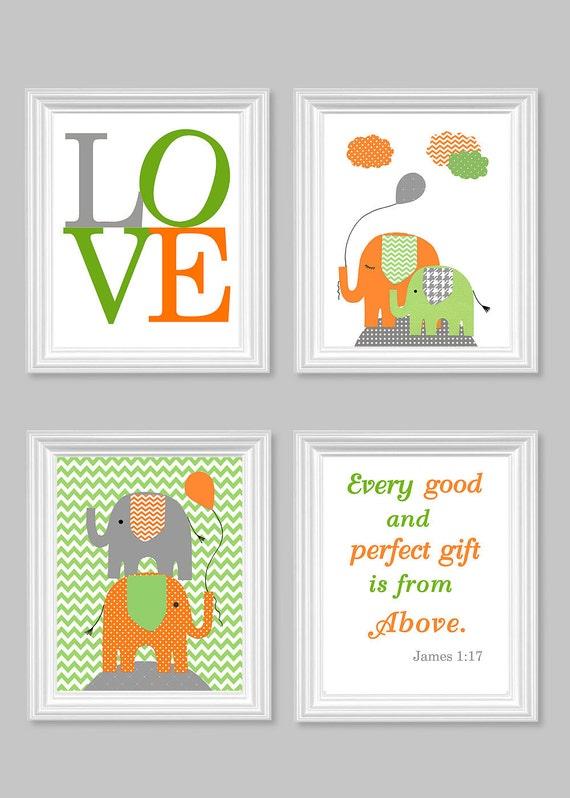 elefant kinderzimmer art gr n grau orange von sweetpeanurseryart. Black Bedroom Furniture Sets. Home Design Ideas