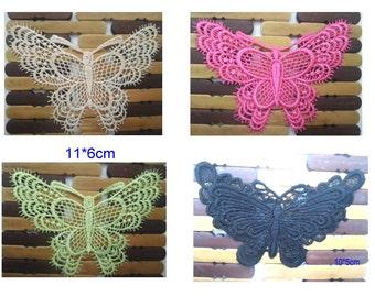 Wholesale LOT  12PCS butterfly lace Applique Patches   DIY sewing craft supplies   about 11*6cm
