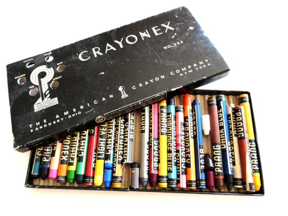 Vintage Prang Crayonex Box of Crayons- Vintage Art Supplies- 1950s Art- Black White Graphics- Rainbow Colors