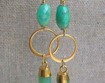 Green Gold Spike Dangle Earrings/ Lux Boho/ Chrysophrase Chalcedony Hoop Earrings