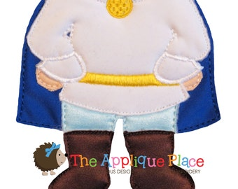 Dress Up Doll * Prince Outfit * Paperless Unpaper Cloth doll outfit In The Hoop ITH Machine Embroidery Applique Design
