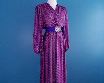 1980's Jackie Taub Dress with Day-Lor Stretch Belt size 6