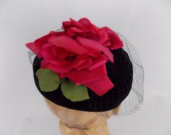 1980's Chic Black Velvet Pillbox Hat with Silk Roses