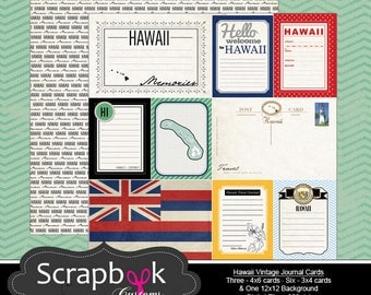 Hawaii Journal Cards. Digital Scrapbooking. Project Life. Instant Download.