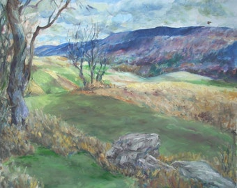 Original Landscape Oil Painting-Meadows and Tussey Mountain