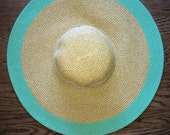 Mint and Natural Two Toned Colored Monogrammed Sun Hat