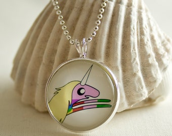 Adventure Time Lady Rainicorn / Round Silver pendant / 20mm image / Special for Adventure Time lovers