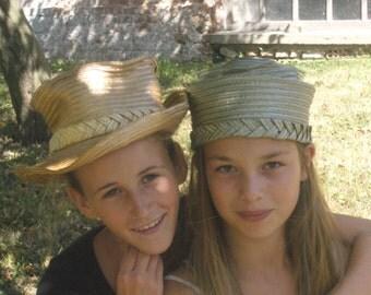 gold rafia hat