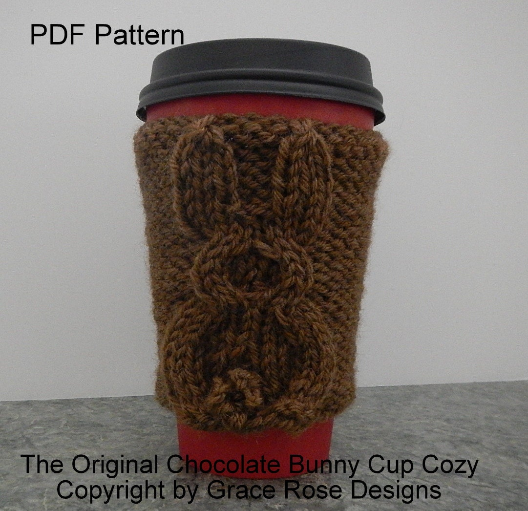 Bunny Cup Cozy Two Patterns Knitted in Round and Knitted ...