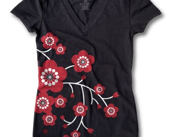 Oriental Cherry Blossom Print Women's fitted V-Neck tee (Black)