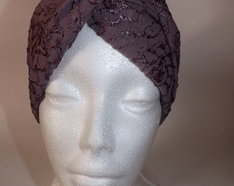 Light Purple Embroidery Turban Headband
